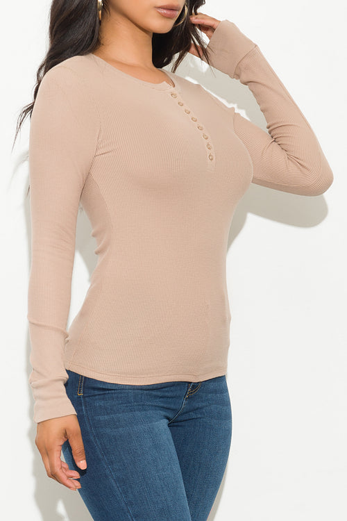 Fall Basic Thermal Top Long Sleeve Khaki
