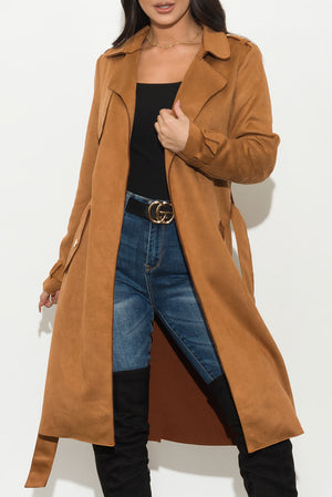 Better Than Ever Suede Coat Mocha