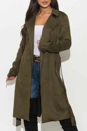 Better Than Ever Suede Coat Olive