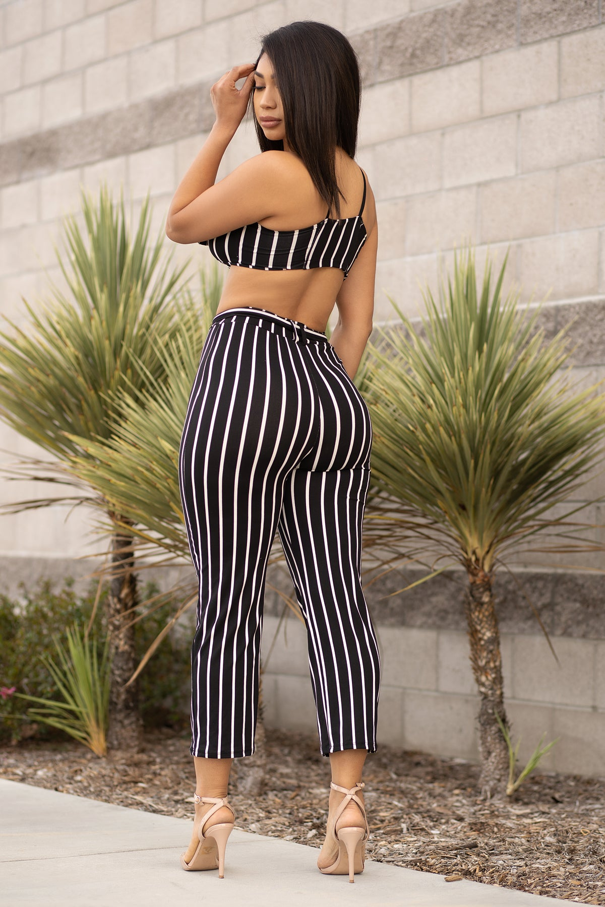 Darlene Striped Set- Black