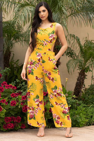 Carmine Floral Jumpsuit Yellow