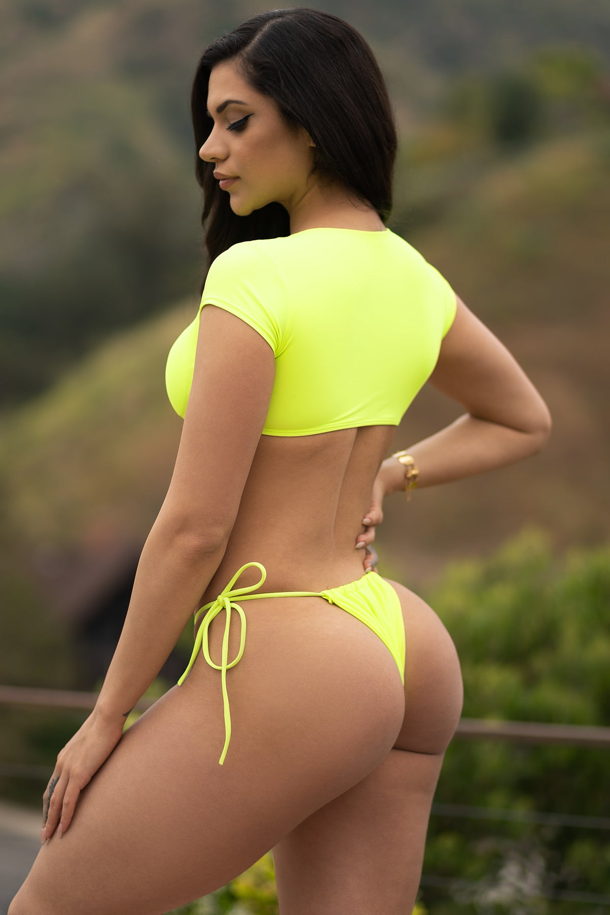 Long Beach Two Piece Swimsuit-Neon Green