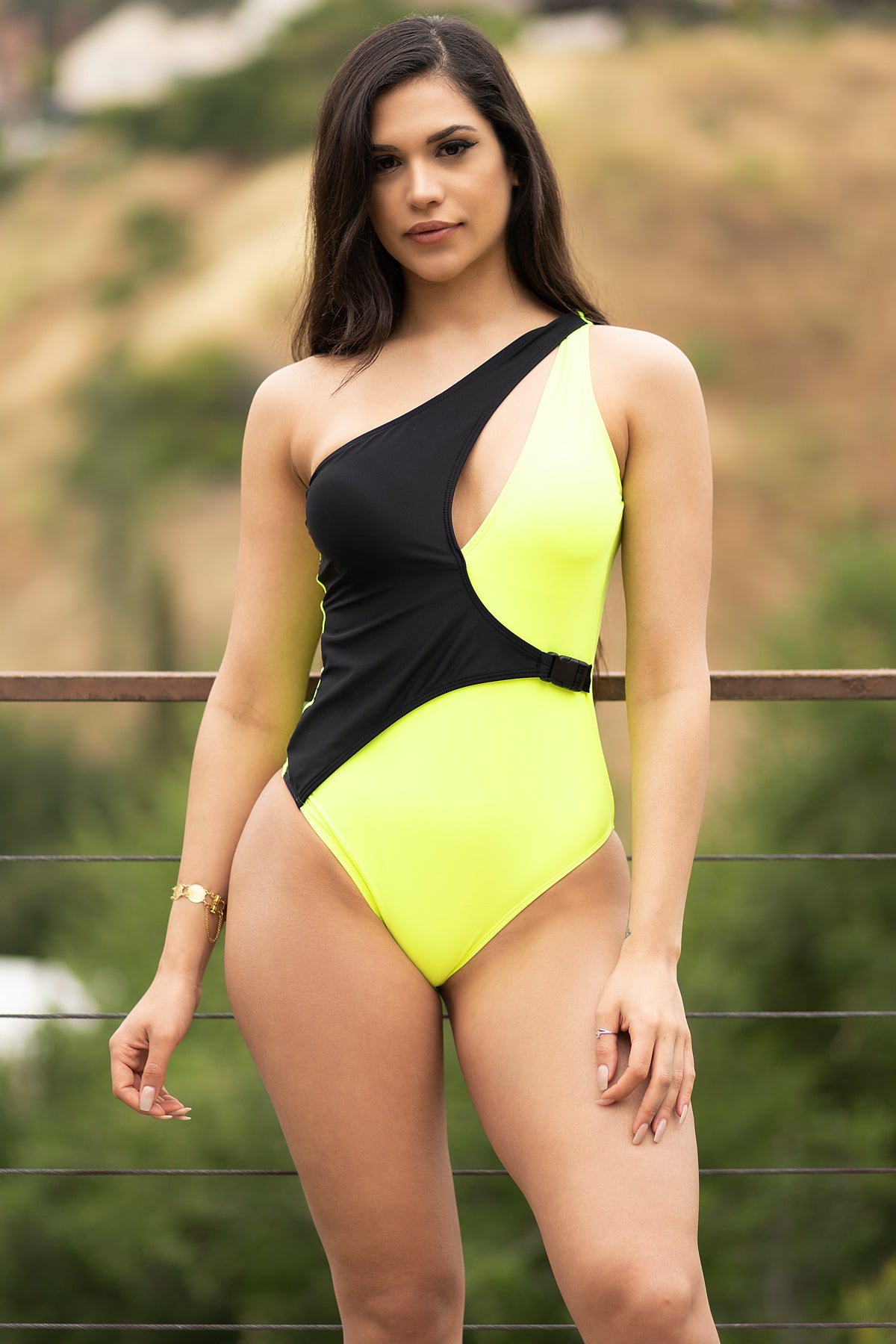 Starfish Paradise One Piece Swimsuit-Neon Green/Black
