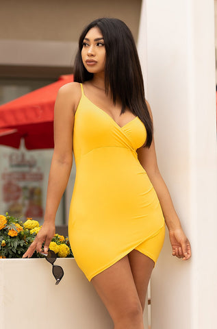 Wendy Off Shoulder Dress - Mustard