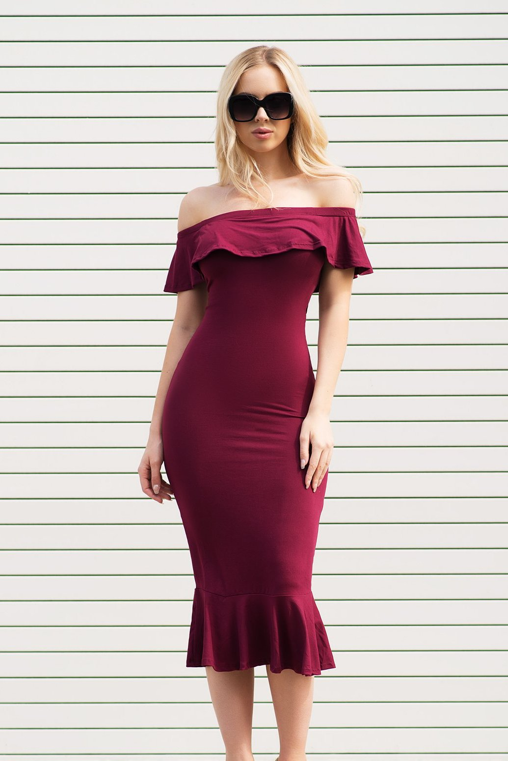 Analia Off Shoulder Dress - Burgundy