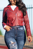 Just What You Need Faux Leather Jacket  Burgundy