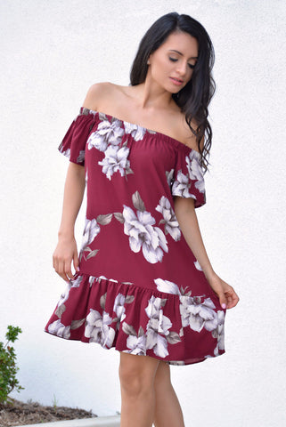 Sussane Burgundy Dress - Fashion Effect Store  - 1
