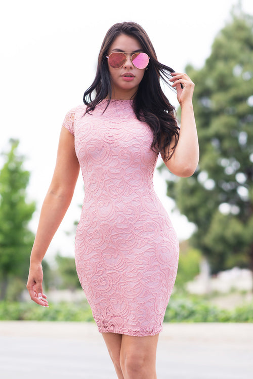 Natalie Lace Dress Soft Pink