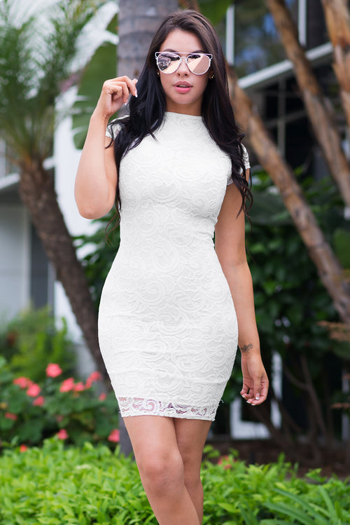 Natalie Lace Dress White