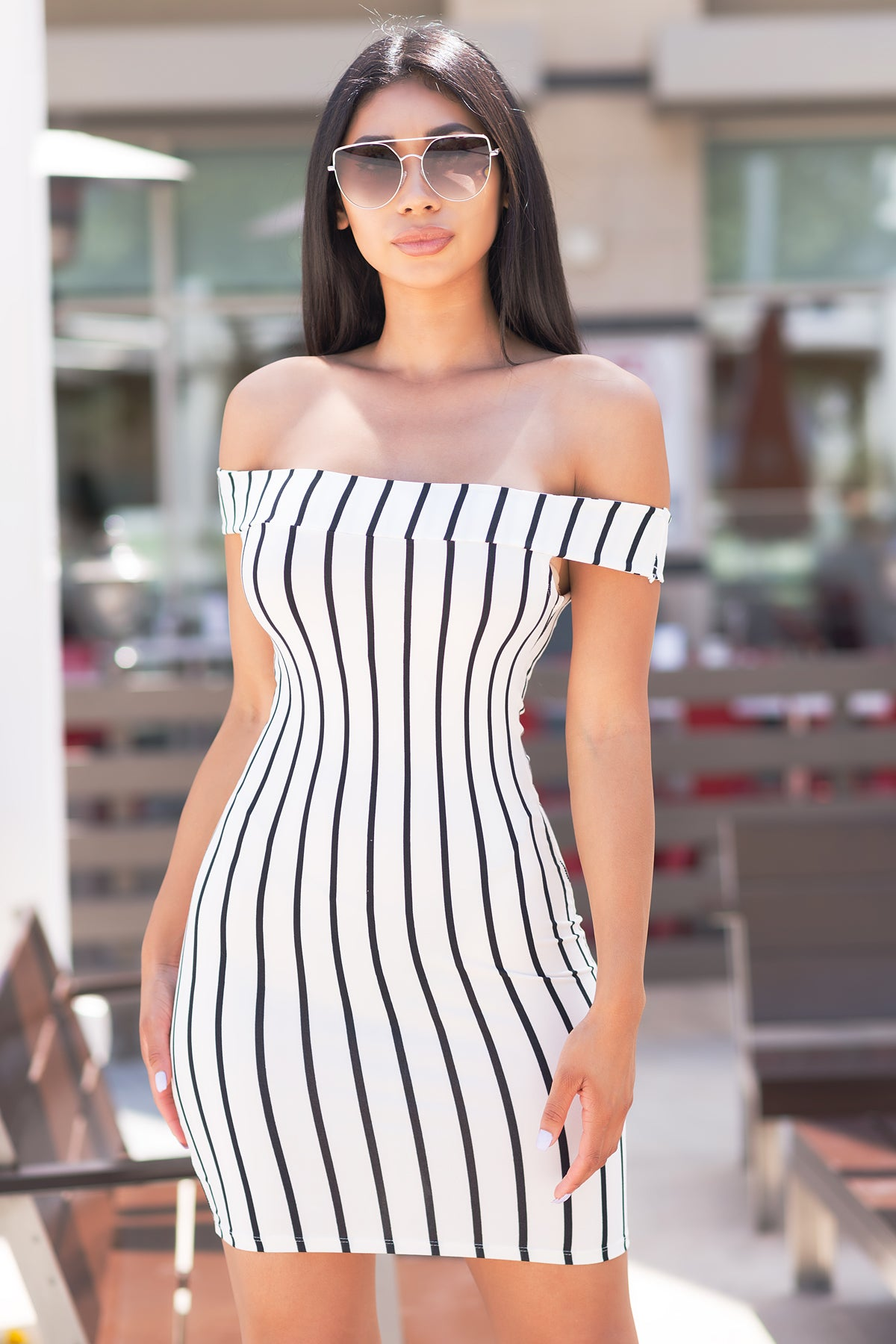 Kaylee Off Shoulder Dress - White