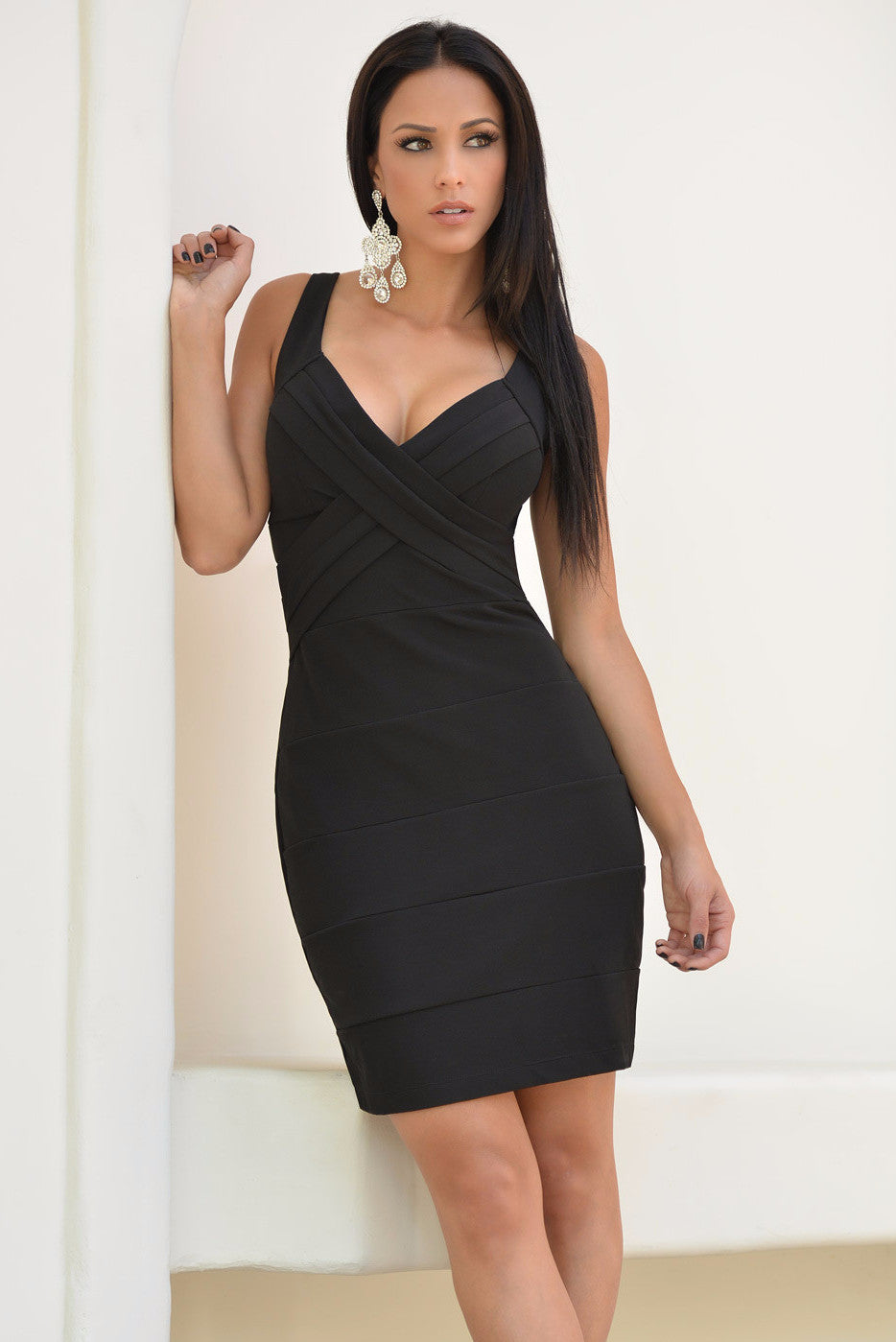 Mayte Black Mini Dress - Fashion Effect Store  - 4