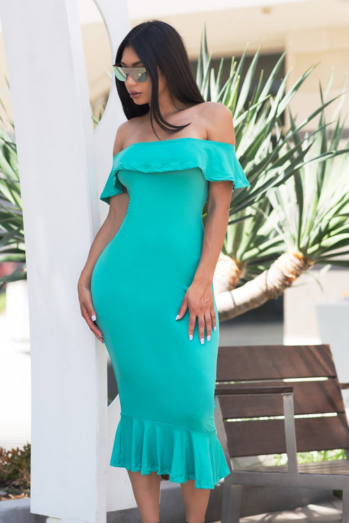 Analia Off Shoulder Dress - Mint