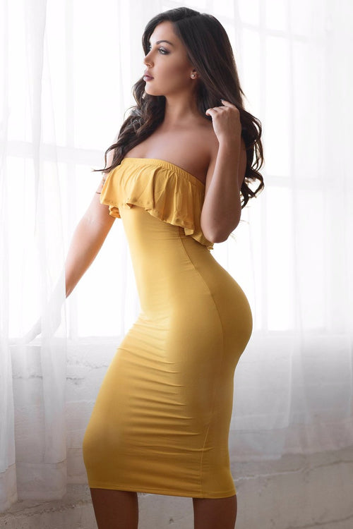 Chantell Off Shoulder Dress - Mustard Yellow