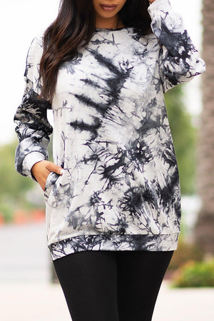 Alissa Sweater/Dress Tie Dye Black/White