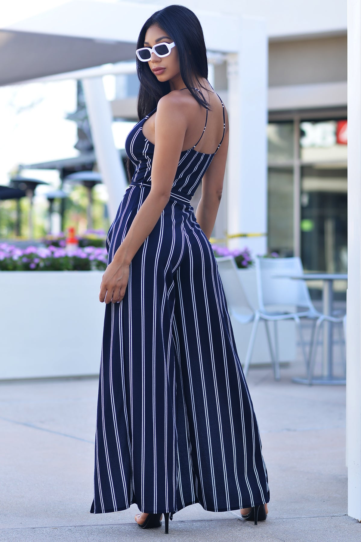 Gabrielle Striped Jumpsuit - Navy