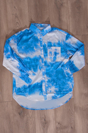 Rosette Tie Dye Blouse Blue/White