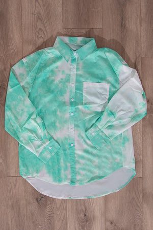 Rosette Tie Dye Blouse Green/White