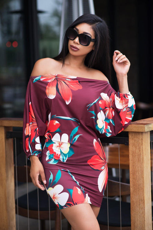 Alana Floral Dress - Burgundy