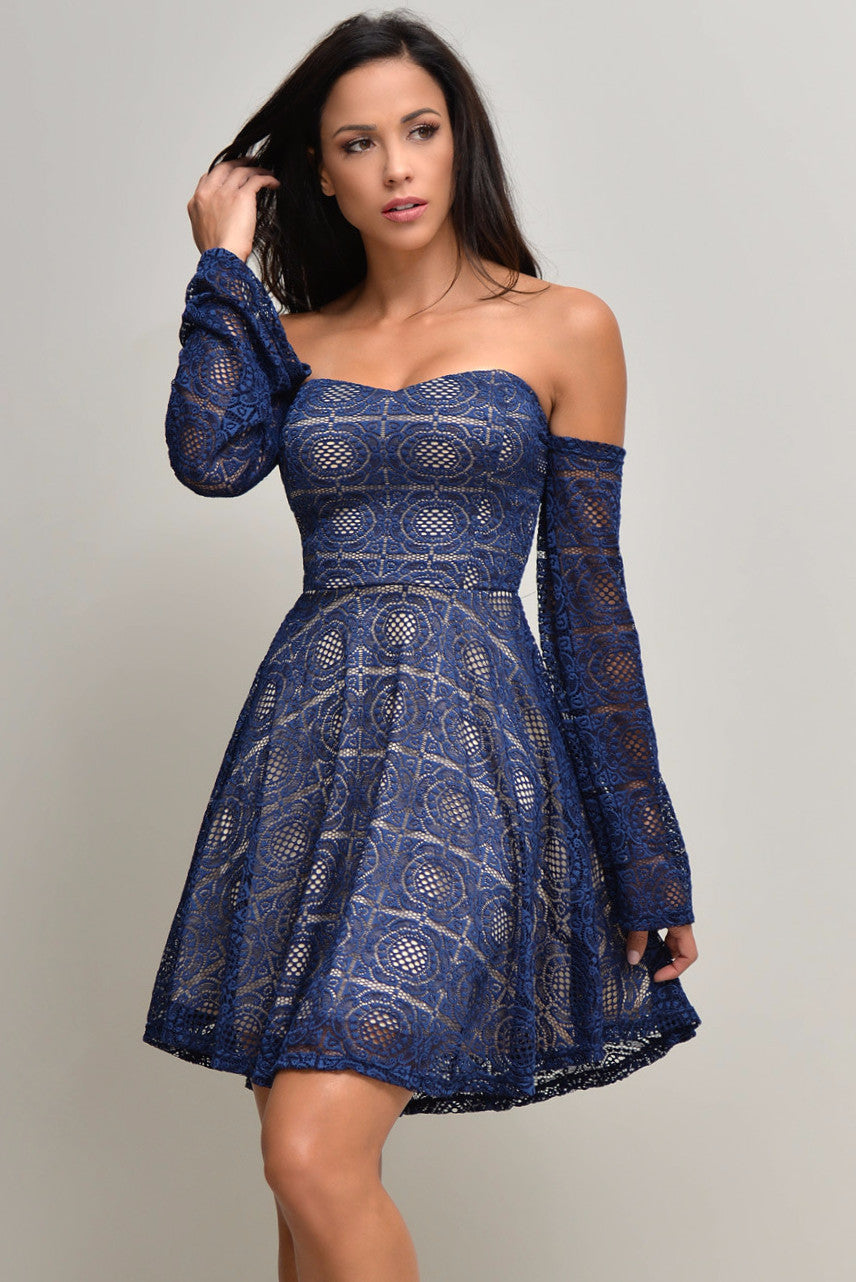 Erin Navy Blue Lace Dress - Fashion Effect Store  - 1