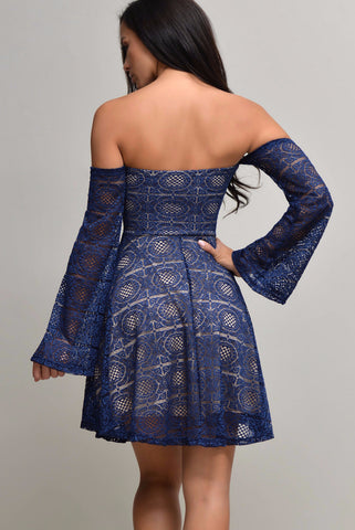 Erin Navy Blue Lace Dress - Fashion Effect Store  - 2