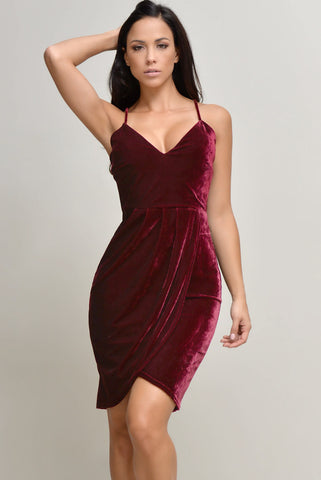 Alyssa Velvet Burgundy Dress - Fashion Effect Store  - 1