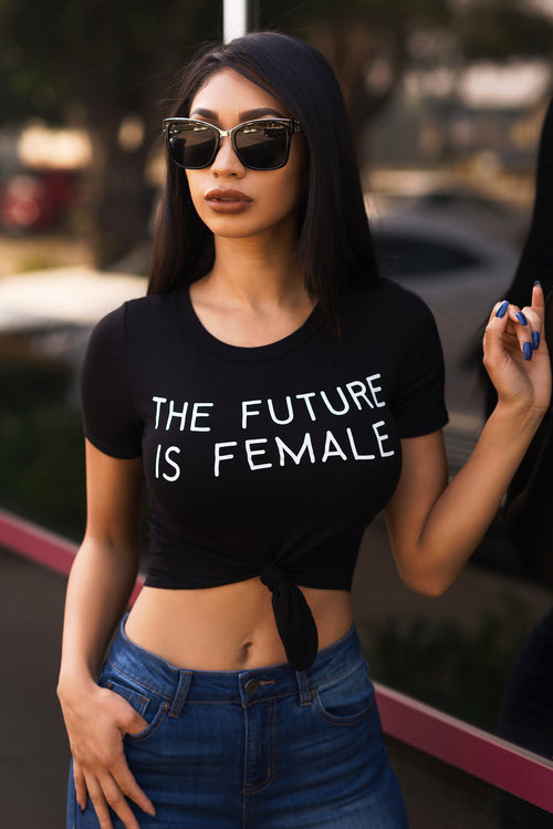 The Future Is Female Crop Top - Black