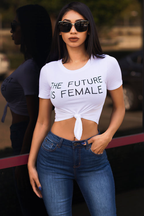 The Future Is Female Crop Top - White