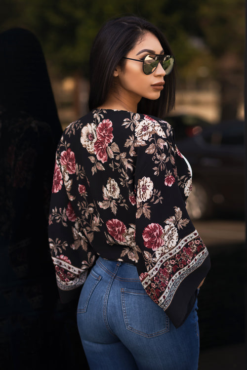 Kaylee Wrap Floral Blouse - Black