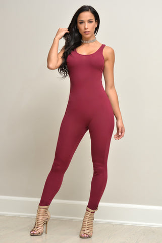Kristy Burgundy Jumpsuit - Fashion Effect Store  - 1