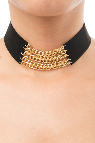 Iris Black and Gold Choker - Fashion Effect Store