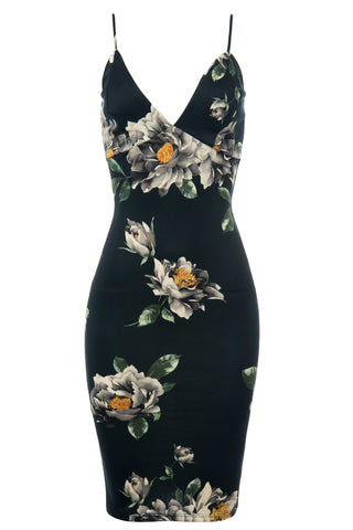 Gigi Dark Green Floral Midi Dress - Fashion Effect Store  - 2