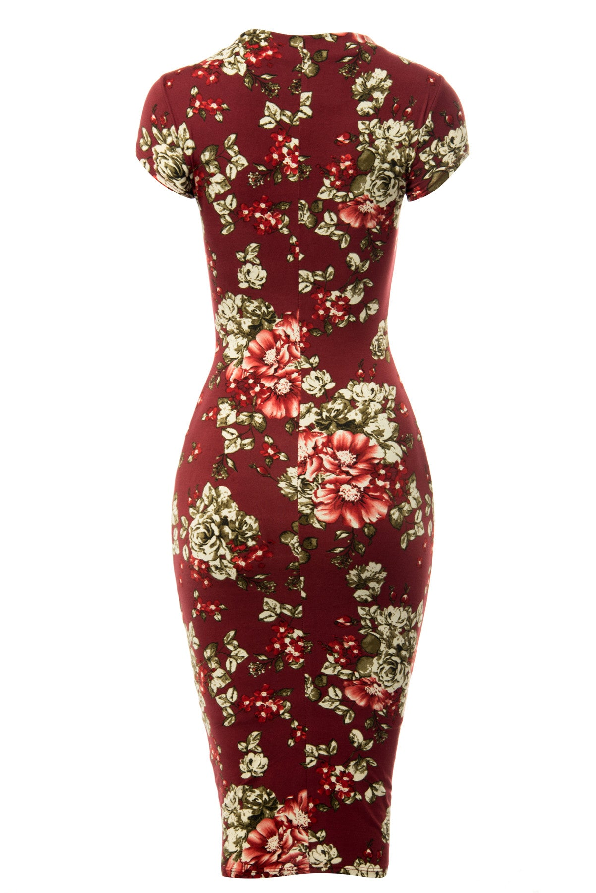 Brandi Floral Burgundy Midi Dress - Fashion Effect Store  - 5