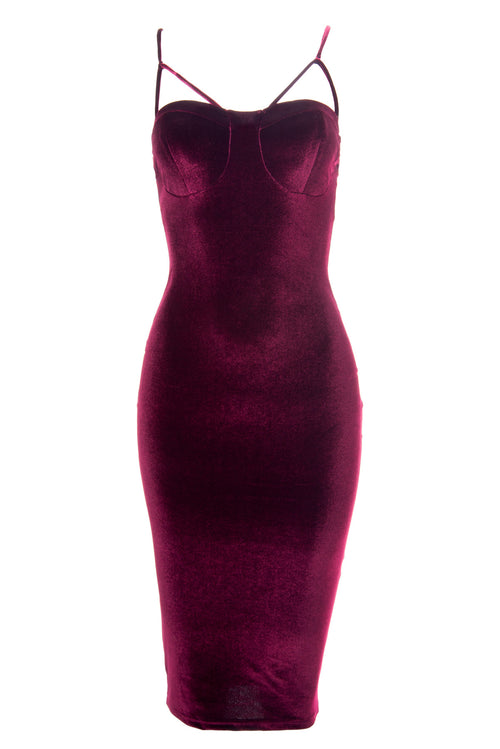 Lenna Burgundy Velvet Dress - Fashion Effect Store  - 1