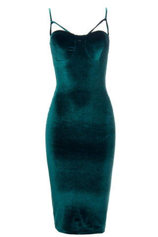 Lenna Green Velvet Dress - Fashion Effect Store  - 1