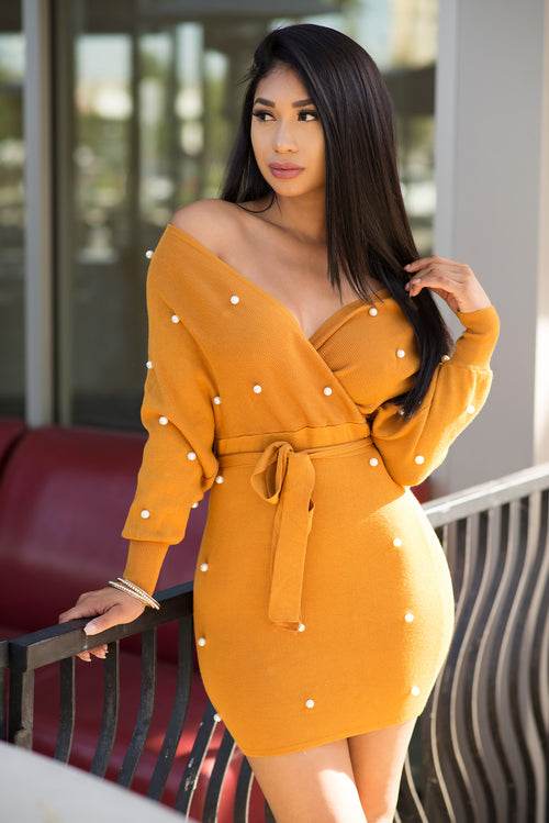 Vivica Faux Wrap Tie Up Dress - Mustard