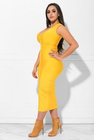 Gianna Bandage Dress Yellow - Fashion Effect Store  - 1