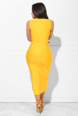 Gianna Bandage Dress Yellow - Fashion Effect Store  - 3