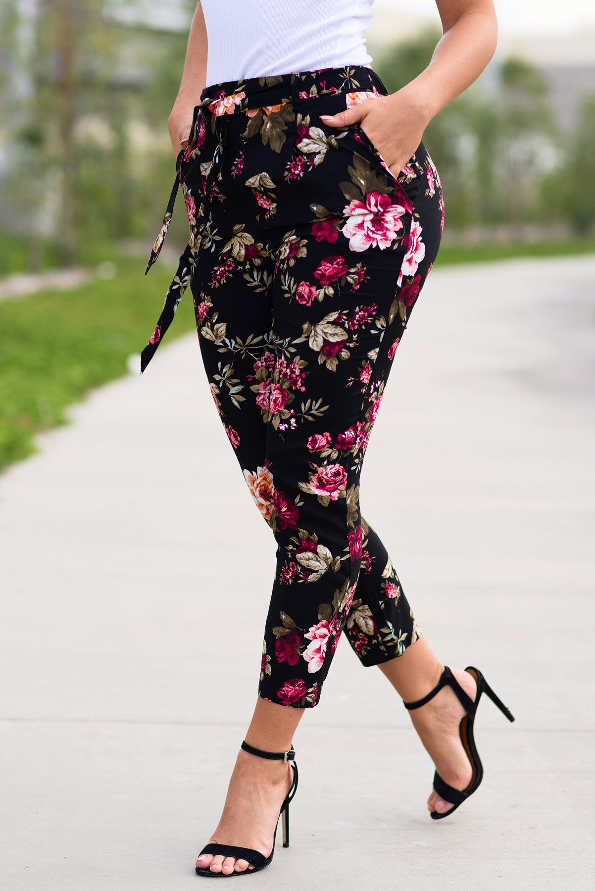 Natalie Pants - Floral Black
