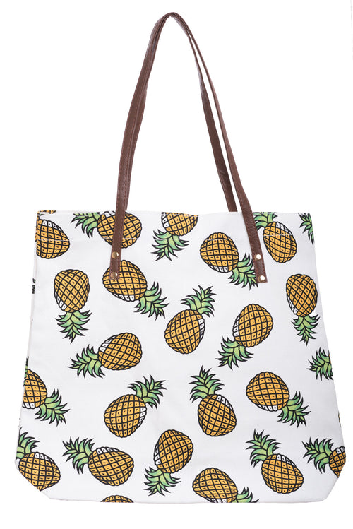 Pineapple Yellow Canvas Tote