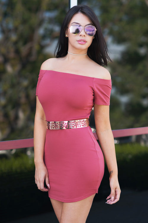Mandy Off Shoulder Dress Mauve