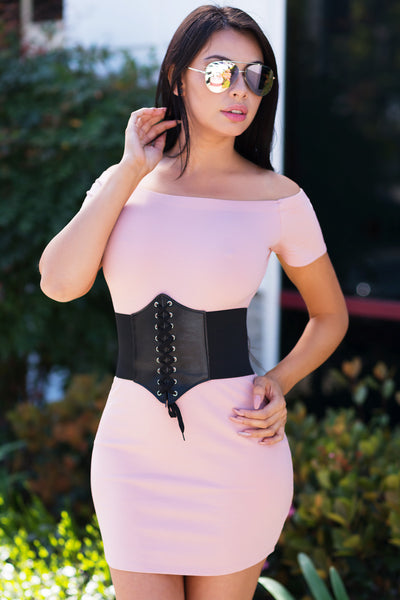 Mandy Off Shoulder Dress Soft Pink