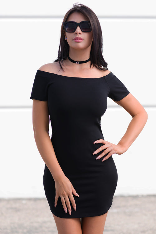 Mandy Off Shoulder Dress Black