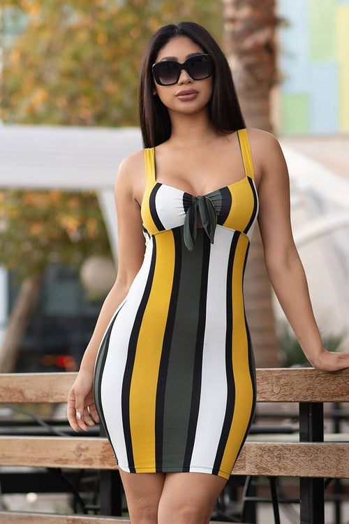 Ava Striped Dress - Mustard