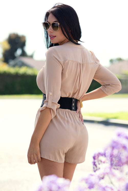 Feeling This Look Romper Taupe