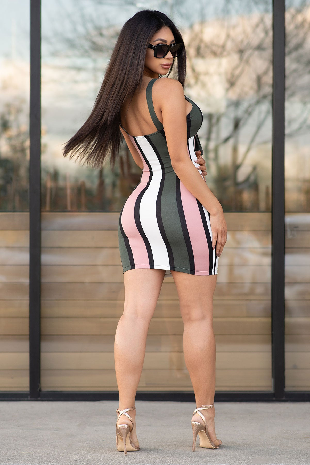 Ava Striped Dress - Dusty Pink