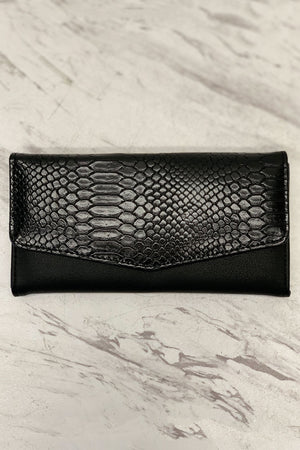 I'm All Yours Crocodile Print Wallet Black