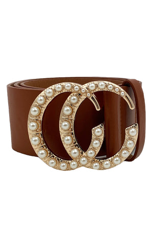 See You Soon Belt Brown With Pearls