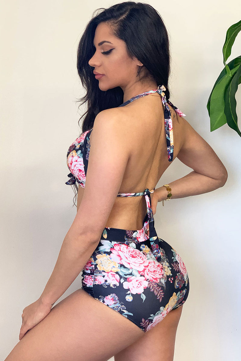 Aruba Floral Two Piece Swimsuit  Black