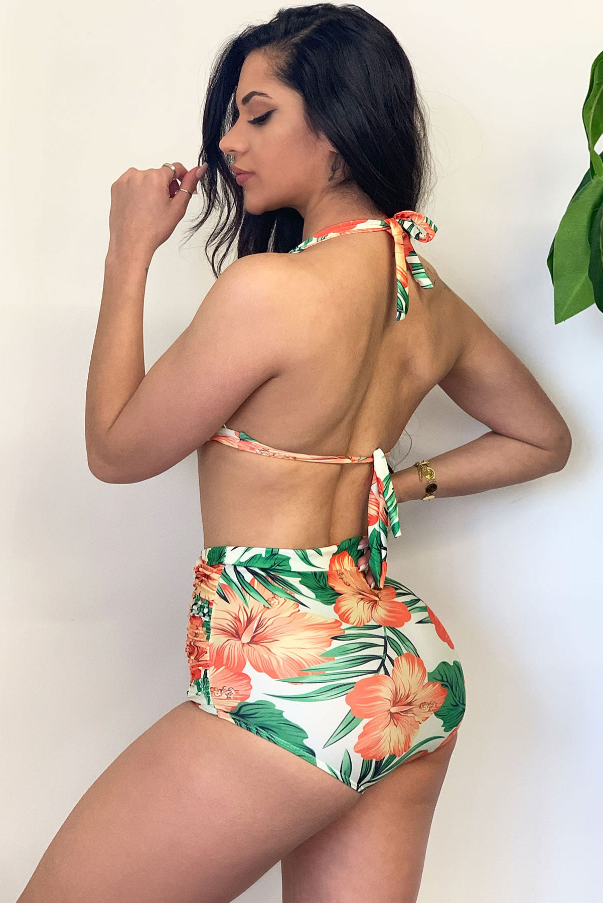 Palm tree Beach Floral Two Piece Swimsuit -Yellow/Orange/Green