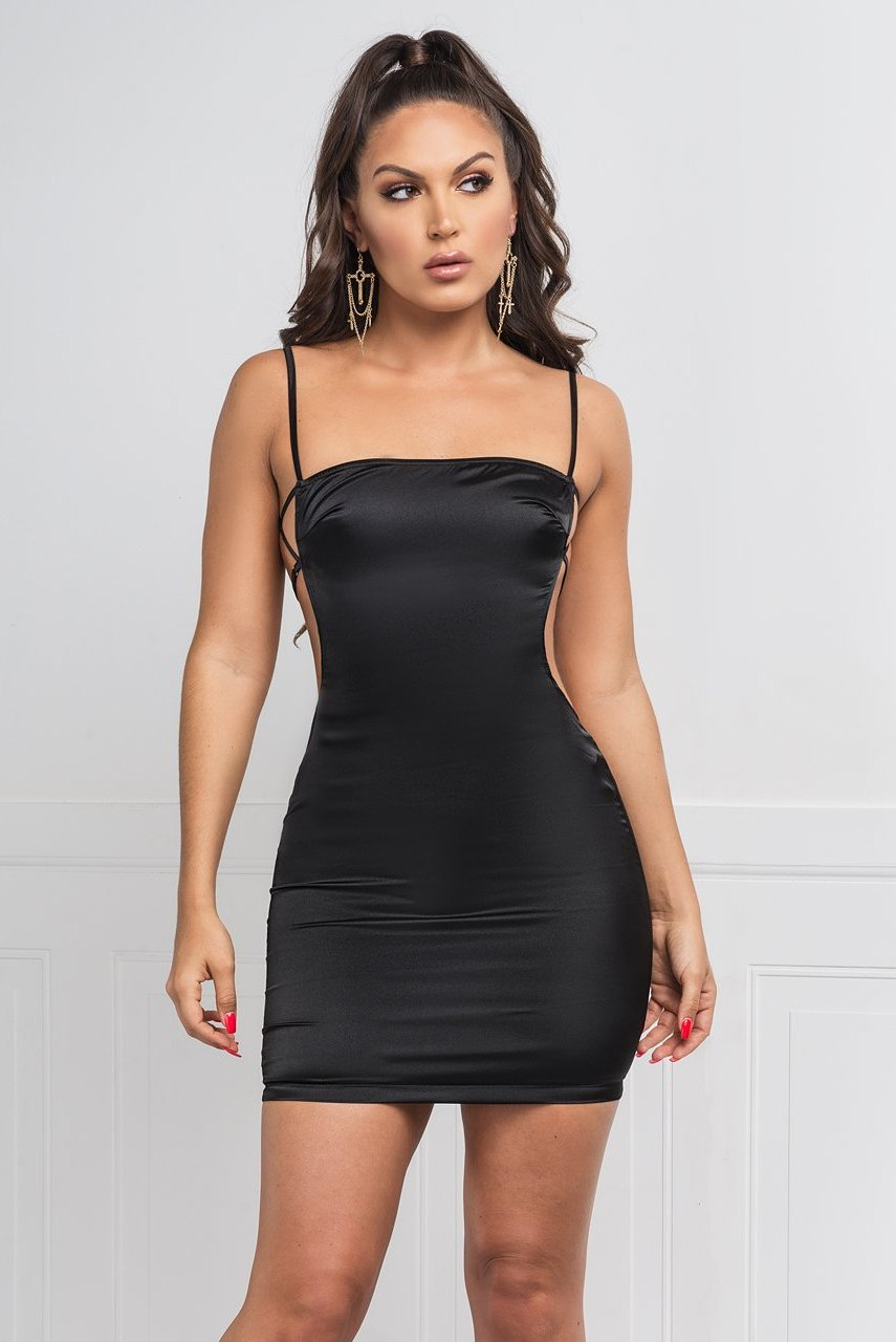 Melissa Satin Dress - Black